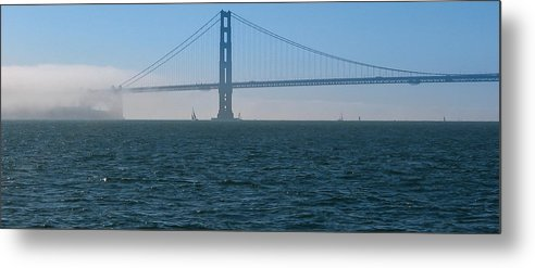 Golden Metal Print featuring the photograph Golden Gate - The Fog Is Lifting by J H Clery