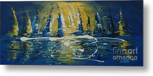 Midnight Metal Print featuring the painting Midnight Sail by Dan Campbell