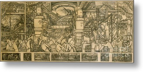 Diego Rivera Metal Print featuring the drawing Presentation Drawing Of The Automotive Panel For The North Wall Of The Detroit Industry Mural by Diego Rivera
