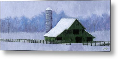 Barn Metal Print featuring the painting Turner Barn In Brentwood by Janet King