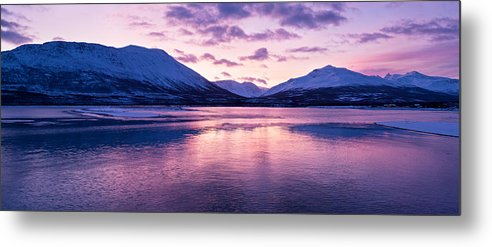 Beautiful Metal Print featuring the photograph Twilight Above A Fjord In Norway With Beautifully Colors by U Schade