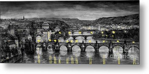 Prague Metal Print featuring the painting Bw Prague Bridges by Yuriy Shevchuk