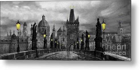 Prague Metal Print featuring the painting Bw Prague Charles Bridge 04 by Yuriy Shevchuk