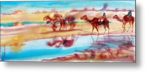 Camels Metal Print featuring the painting Camel Run by Beena Samuel