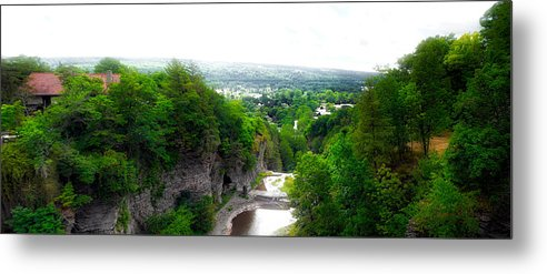 Cornell University Metal Print featuring the photograph Cascadilla Gorge Cornell University Ithaca New York Panorama by Thomas Woolworth