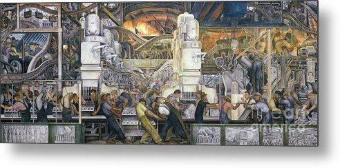 Machinery; Factory; Production Line; Labour; Worker; Male; Industrial Age; Technology; Automobile; Interior; Manufacturing; Work; Detroit Industry Metal Print featuring the painting Detroit Industry  North Wall by Diego Rivera