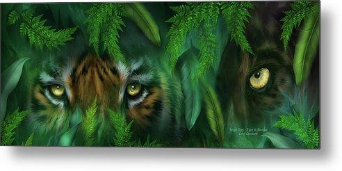 Big Cat Art Metal Print featuring the mixed media Jungle Eyes - Tiger And Panther by Carol Cavalaris