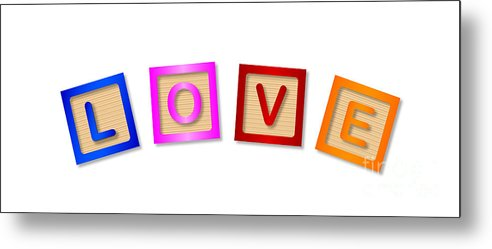 Love Metal Print featuring the digital art Love Blocks by Bigalbaloo Stock