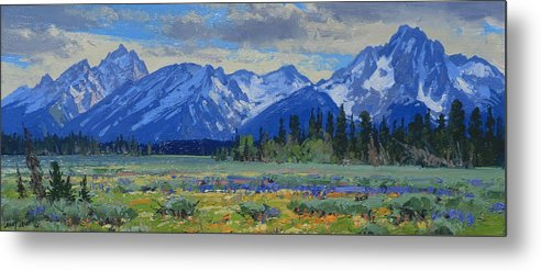 Landscape Metal Print featuring the painting Teton Summer by Lanny Grant