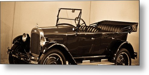Antique Metal Print featuring the photograph Antique Car In Sepia 1 by Douglas Barnett
