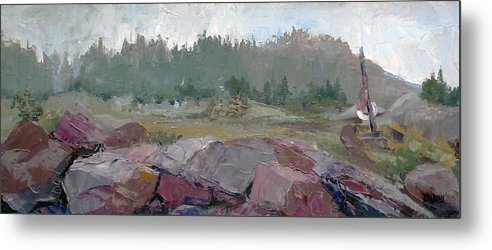 Maine Seascape Metal Print featuring the painting Maine Cove In Fog by J R Baldini