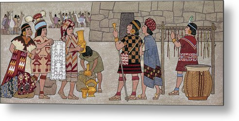 Illustration Metal Print featuring the photograph Emissaries Bring Tribute To Inca by Ned M. Seidler