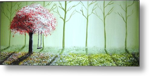 Fantasy Metal Print featuring the painting Fantasy Garden by Edwin Alverio