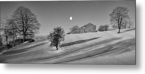 Exclusivelymono Metal Print featuring the photograph Moonset At Dawn by Simon Lupton