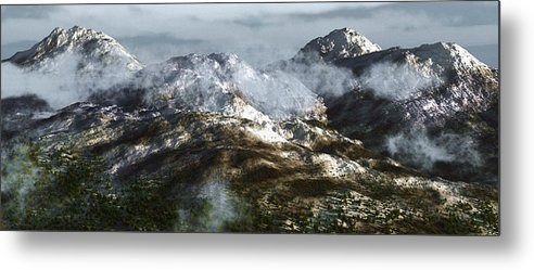Mountains Metal Print featuring the digital art Cold Mountain by Richard Rizzo