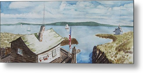 Puget Sound Metal Print featuring the painting Fishing Shack With Old Glory by Robert Thomaston