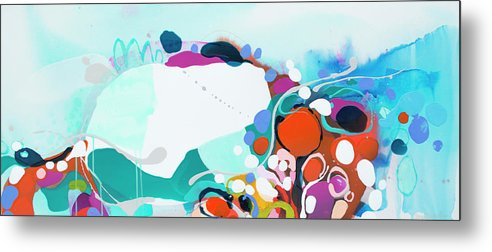 Abstract Metal Print featuring the painting New Ways by Claire Desjardins
