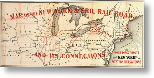 Railroad Metal Print featuring the photograph New York And Erie Railroad Map 1855 by Daniel Hagerman