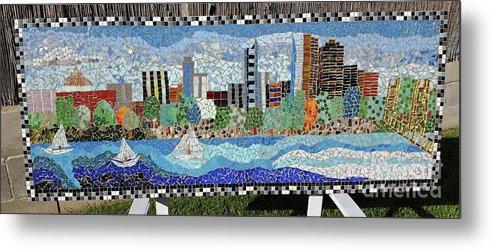 Mosaic Metal Print featuring the painting Sacramento City Skyline Mosaic by Nancy McNamer
