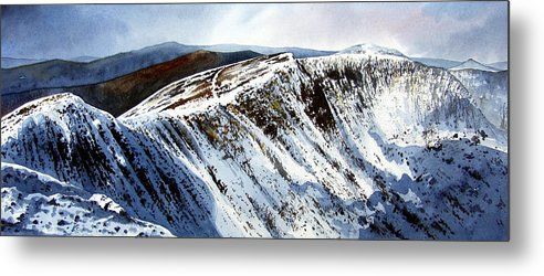 Helvellin Metal Print featuring the painting Striding Edge Leading To Helvellin Sumit by Paul Dene Marlor