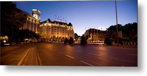 Photography Metal Print featuring the photograph Plaza De Neptuno And Palace Hotel by Panoramic Images