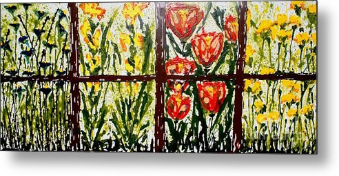 Flowers Metal Print featuring the painting Walls Of Heavenly Flowers by Baljit Chadha