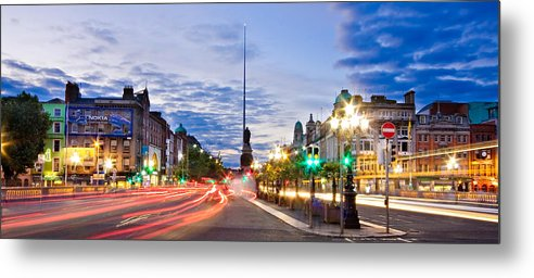 O'connell Bridge Metal Print featuring the photograph O' Connell Bridge At Night - Dublin by Barry O Carroll