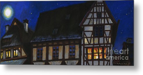 Pastel Metal Print featuring the painting Germany Ulm Fischer Viertel Moonroofs by Yuriy Shevchuk