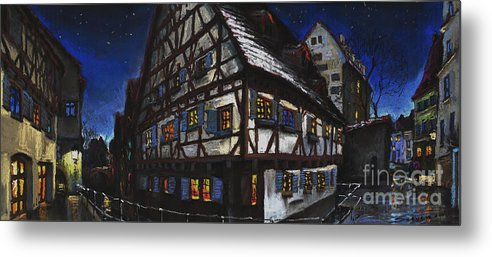 Pastel Metal Print featuring the painting Germany Ulm Fischer Viertel Schwor-haus by Yuriy Shevchuk