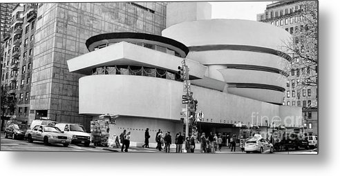 Nyc Metal Print featuring the photograph Guggenheim Museum Nyc Bw by Chuck Kuhn