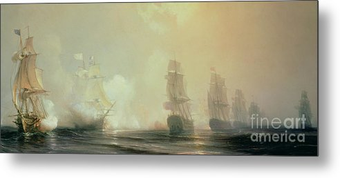 Boat Metal Print featuring the painting Naval Battle In Chesapeake Bay by Jean Antoine Theodore Gudin