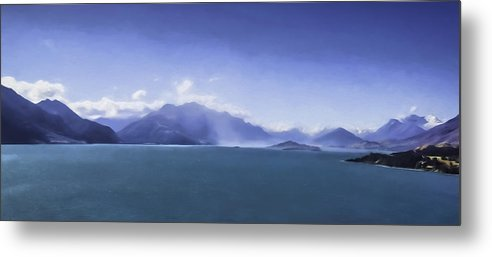 New Zealand Metal Print featuring the digital art On The Road To Glenorchy by Barb Hauxwell