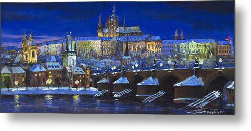 Prague Metal Print featuring the painting The Prague Panorama by Yuriy Shevchuk