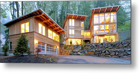 Architecture Metal Print featuring the photograph Modern Home In Woods by Will Austin