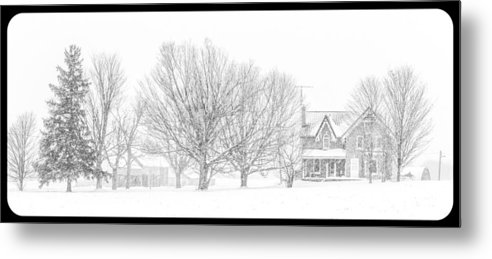 Farmland Metal Print featuring the photograph Farmhouse In Winter by Nicole Couture-Lord