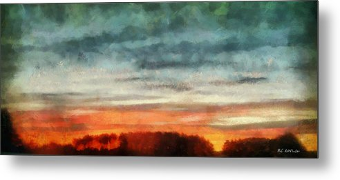 Landscape Metal Print featuring the painting Maine Sunset by RC DeWinter