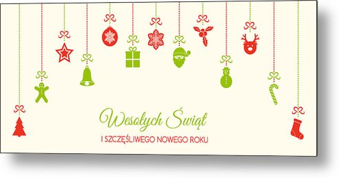 Merry Christmas In Polish.Wesolych Swiat Merry Christmas In Polish Christmas Decoration Vector Metal Print