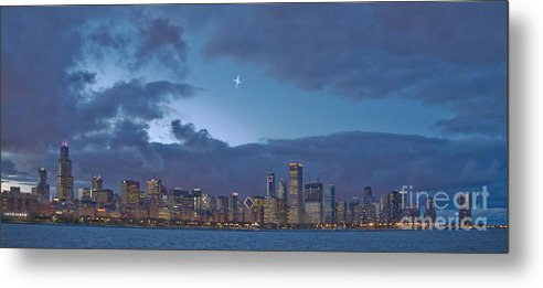 Chicago Metal Print featuring the photograph Star Over Chicago by Jim Wright