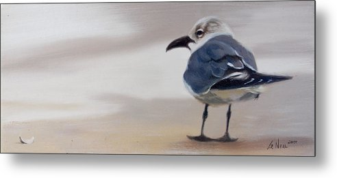 Painting Metal Print featuring the painting A Walk On The Beach by Greg Neal