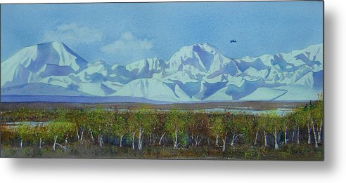 Denali Metal Print featuring the painting Denali Park Alaska by Teresa Boston