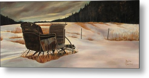 Old Sleigh Metal Print featuring the painting Imaginery Sleigh Ride by Keith Gantos
