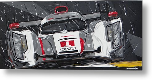 Cars Metal Print featuring the painting Le Mans Audi R18 by Roberto Muccilo