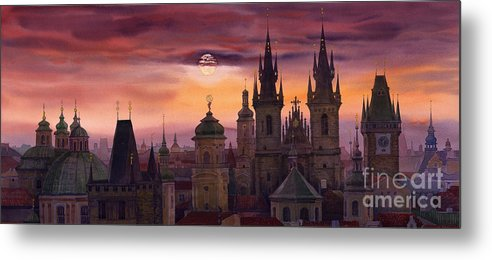 Cityscape Metal Print featuring the painting Prague City Of Hundres Spiers by Yuriy Shevchuk
