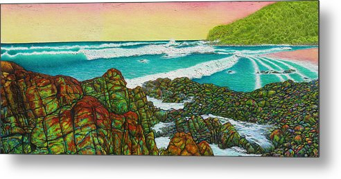Seascape Metal Print featuring the painting Third Bay Coolum Beach Triptych by Joe Michelli