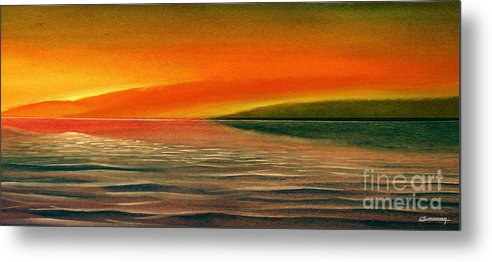Sunset Metal Print featuring the painting Sunrise Over The Sea by Christian Simonian