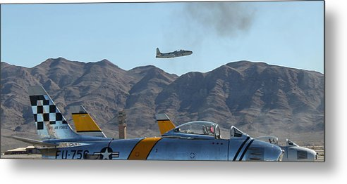 T33 Metal Print featuring the photograph T-33 Shooting Star Flight Over Two Sabre's by Carl Deaville