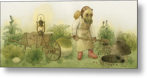 Bears Night Garden Dark Black Roses Flowers Green Magic Metal Print featuring the painting Florentius The Gardener 28 by Kestutis Kasparavicius