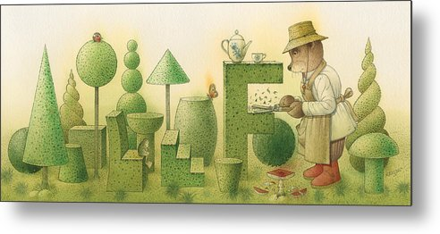 Garden Bears Flowers Green Landscape Nature Metal Print featuring the painting Florentius The Gardner24 by Kestutis Kasparavicius