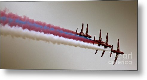 Red Arrows Metal Print featuring the photograph In One Row by Angel Ciesniarska
