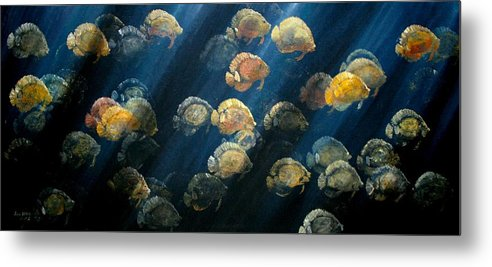 Underwater Paintings Metal Print featuring the painting Moonlight by Ana Bikic